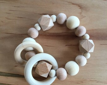 Natural Wood Baby Teether Ring/Rattle