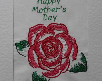 Large Mothers Day Embroidered Card size A5 - Pink Rose