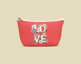 makeup bag, love, flowers, make up bag, summer, makeup organizer, cosmetic bag, travel bag, red makeup bag makeup storage, pencil case, gift