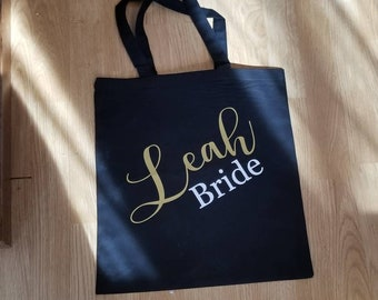 Set of 4 Customized Name, Wedding Party, Groomsman,Personalized Bride, Bridesmaid, Lightweight 100% Cotton Black/Cream/White Canvas Tote