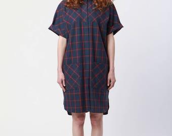 Oversized Shirtdress - Navy/Red Windowpane
