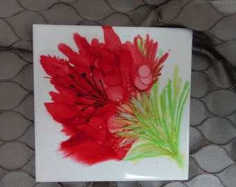 Hand Decorated Ceramic Alcohol Ink Tile - (four of four in 'Fleur' range)