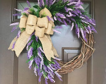 Lavender Wreath| Spring Wreath| Purple Floral Decor| Summer Wreath| Lavender