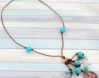 Turquoise Beaded Western Necklace