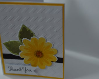 Hand Stamped Bright Bloom Thank You Card