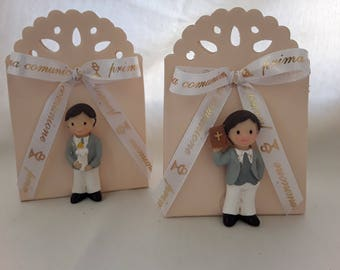 Ivory box with baby magnet First Communion