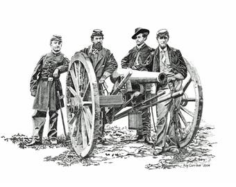 Civil War artillery art print