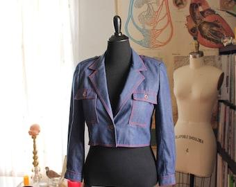 selvedge denim jacket, womens vintage cropped denim jacket, military inspired, size small medium large SEE MEASUREMENTS . epaulette shoulder