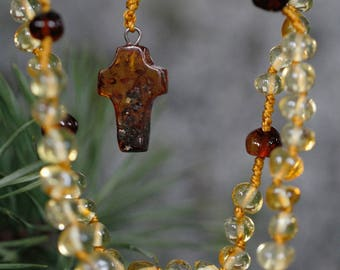 Baptism Gift from Godparents Christening Gift for Goddaughter Baptism Gift for Goddaughter New Baby Baltic Amber rosary, V35