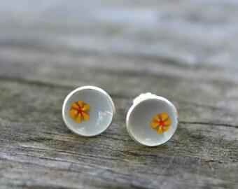sunflower enameled small stud earrings