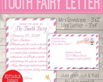 Personalized Tooth Fairy Letter, Letter from Tooth Fairy Printable Kit, Tooth Fairy Note, Tooth Fairy Letter Download, Tooth Fairy Envelope