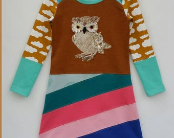 Size 6 upcycled girls owl dress, girls clothing, fall ,kidsclothes, kidswear, girl, birds, girls dress, upcycling, childrens clothing