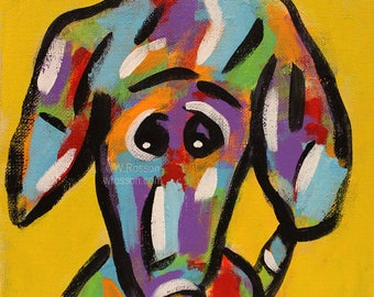 Worried Dog, Original Painting, Colorful Dog, Whimsical Dog, Dog Painting, Pets, Winjimir, Home Decor, Wall Art, Gift, Dog Lover, Art, Dogs