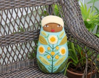 Swaddled Baby Flower Folk Art wool doll