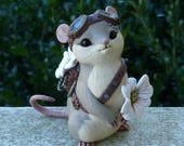 Steampunk Dogwood Mouse Myxie Pal Sculpture ---RESERVED FOR CUSTOMER---