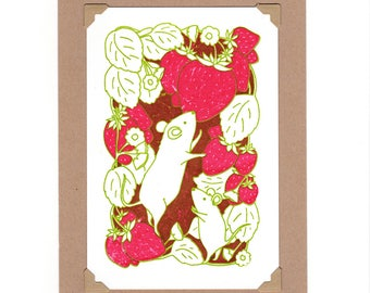 Strawberry Mice Gocco Mini Screenprint
