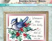 Inspirational Birds Blue Jay Counted Cross Stitch Pattern