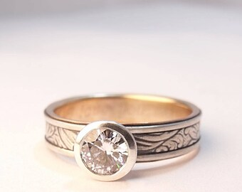 Engagement Ring Engagement Band 6mm Moissanite Engagement Sunflower Silver 14k Yellow Gold Engagement Ring Womens Engagement Womens Wedding