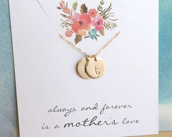 Mom Necklace, Gold Mom Necklace, Gold Initial Necklace, Two Initials, Two Children, Grandma Necklace, Gift for Mom, Custom Letter Necklace