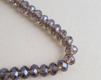 Faceted glass rondelle beads 8mm