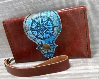 Leather Wallet fits Passport/ Phone with Wrist Strap & Zipper Pocket, Chestnut Brown/ Compass Print * SALE * Coupon Codes