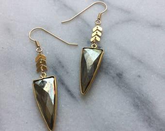 Radharani  Earrings - Pyrite & Gold