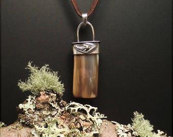 N1547 Petrified Wood Pendant Necklace Sterling Silver Deerskin 925 Clasp Handmade
