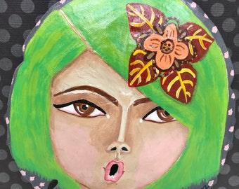 "Green Hair ""Singing Girl with an Attitude"" Painted Sand Dollar - Original Art- Acrylic Cute Girl Art"