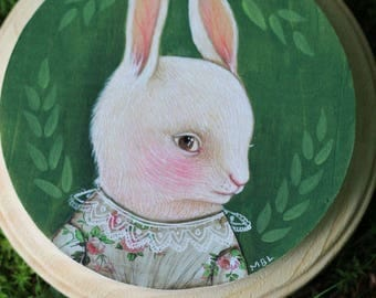 Green Summer Rabbit (Rabbit Portrait #1) marmeecraft victorian bunny painting illustration
