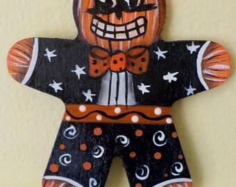 Halloween Pumpkin Man Ornie Jack O Lantern Hand Painted Ornament #7