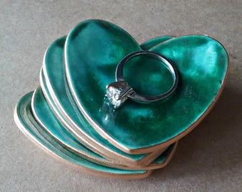 FIVE  Ceramic Heart ring bowls Itty bitty Malachite Green edged in gold Baby shower bridal shower