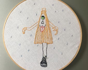 Kasa-obake - hand drawn and embroidered Japanese Yokai wall hanging hoop art