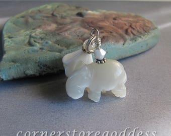 Cats Eye White Hippo Hippopotamus Charm Zipper Pull