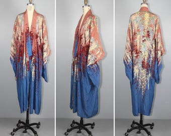 1930s silk kimono / reversible / art nouveau / floral / vintage robe / dressing gown