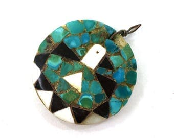 Santo Domingo Depression Era Mosaic Peyote Bird Pendant / Vintage Pueblo Southwestern Turquoise Shell & Obsidian Primitive Inlay Necklace