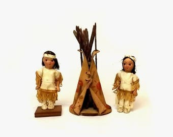 Vintage Leather Teepee & Native American Indian Clay Dolls, Tribal Party, Thanksgiving Decor, Collectible Toy Wigwam, Empress Squaw Dolls