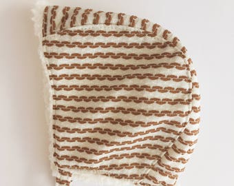 Baby Bonnet with Brown Stripes, Sherpa Lined Baby Bonnet, Vintage Polyester Winter Baby Hat, Bonnets for Babies