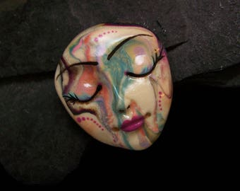 Dots & Swirls Face Cab Handmade Polymer Clay Cabochon beading supply, art doll part, collage