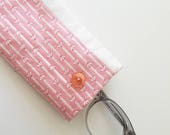 glasses case in rose and white - quilted cotton fabric case for sunglasses or glasses - pale pink accessories case