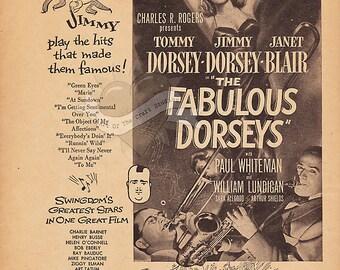 The Fabulous Dorseys -Vintage Advertisement Digital Download