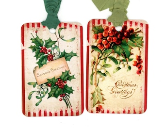 Christmas Gift Tags, Vintage Holly, Vintage Mistletoe, Red and Green, Rustic Tags, Traditional Type, Season's Greetings, Bluebird Lane Tags