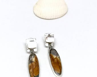 Bilateral Jasper Earring with Mother of Pearl