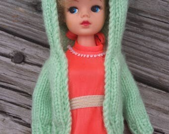Hand-knit Doll Sweater for Make: Sea Foam Green with KITTY EARS!