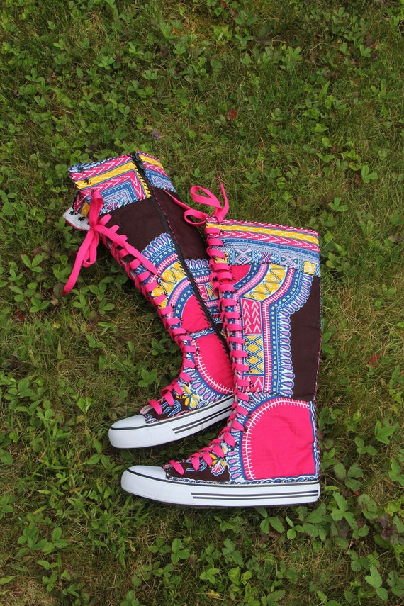 Size 9 Sneaker boots, Funky Boots, Dashiki, Angelina, Ankara African Shoes, African Boots, OOAK, Sandoodles Bootz, Patchwork, Fair Trade