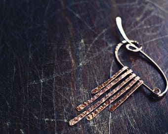 Zephyrus - Sterling Silver or Copper - Fibula - Shawl Pin - Brooch - Knit/Knitting Accessory