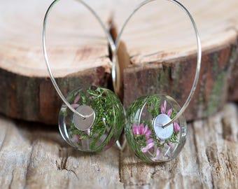 Pink Heather Earrings, Natural Resin Earrings in Sterling Silver, Summer Earrings, Resin earrings, Resin Jewelry, Bold Jewelry