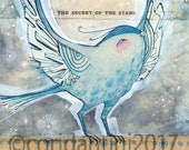Original Watercolor blue bird with stars ON SALE