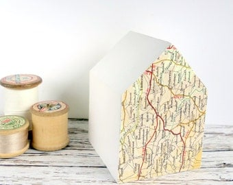 White painted wood house with map. Modern home decor, new home gift, house warming. Mixed media art ornament