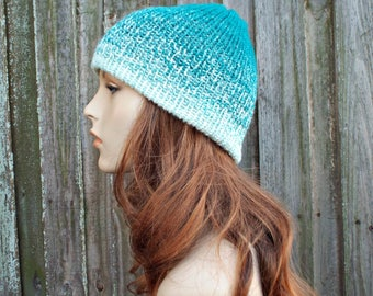 Double Knit Hat Cream and Teal Mens Beanie, Teal Womens Beanie, Reversible Thick Winter Hat