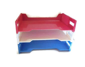 Vintage Stacking Plastic File Trays | Red White Blue Filing Trays | Retro Office Desk Trays